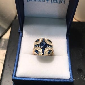 NWOT natural sapphire with diamonds! 18k